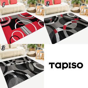 Teppich-Kurzflor-Meliert-Grau-Rot-Kreise-Modern-Designer-Wohnzimmer-Geometrisch