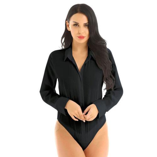 Women Shirt Bodysuit Turn-down Collar Shirts Button Down Blouse Tops Rompers