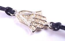 Bracciale d'oro Hamsa Malocchio Kabbalah Mano di Fatima Ciondolo Amuleto Portafortuna Nero