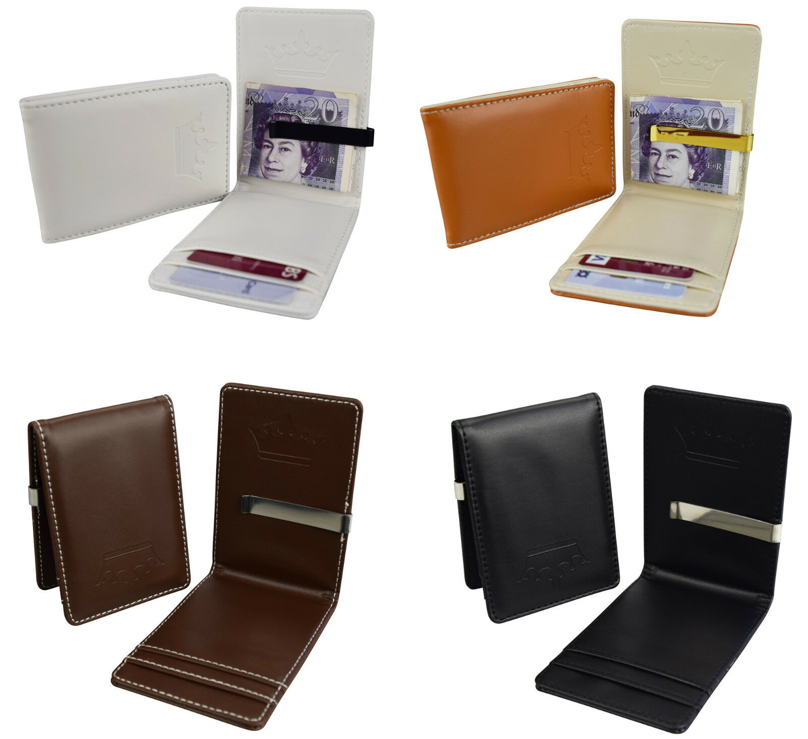 Mens Wallet Money Clip Card Holder ID Card Travel Faux Leather Black Brown W100