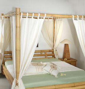 vorhang f r himmelbett 180x220 stoff wei betthimmel bambusbett bettvorhang netz ebay. Black Bedroom Furniture Sets. Home Design Ideas