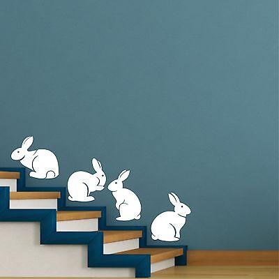 cute bunny rabbits silhouettes set of 4 -  wall art decal vinyl sticker decor