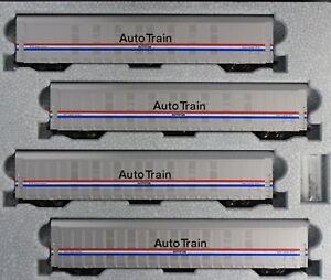 KATO-1065508-N-Autorack-Auto-Train-Amtrak-Phase-III-4-Car-Set-2-106-5508-NEW