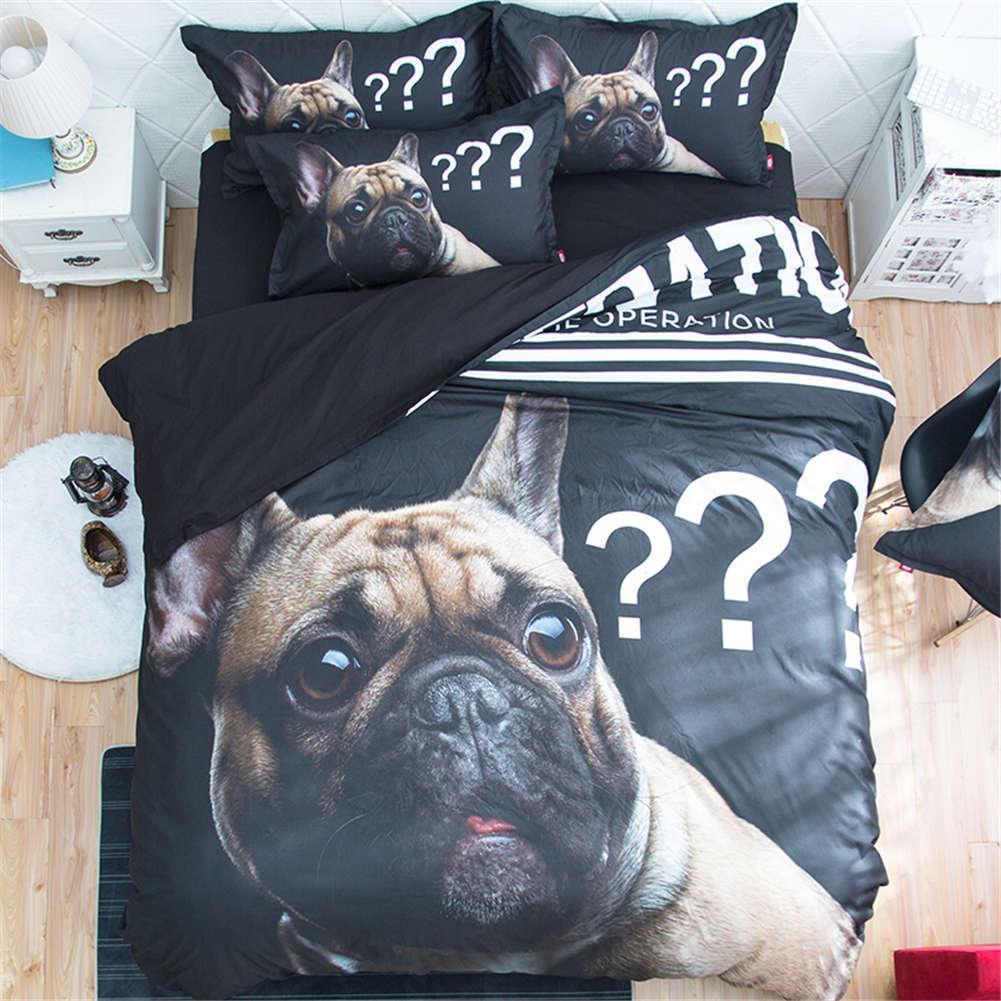 Cute Dog Gave Puzzled Look 3D Digital Print Bedding Duvet Quilt Cover Pillowcase