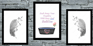 Bathroom-set-of-3-wall-prints-poster-bath-UK-art-Pictures-A4