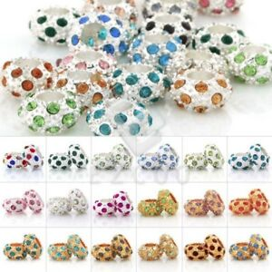 5pcs-Rondelle-Crystal-Loose-Beads-Center-Drilled-Metal-Pave-Jewelry-Makings-PW