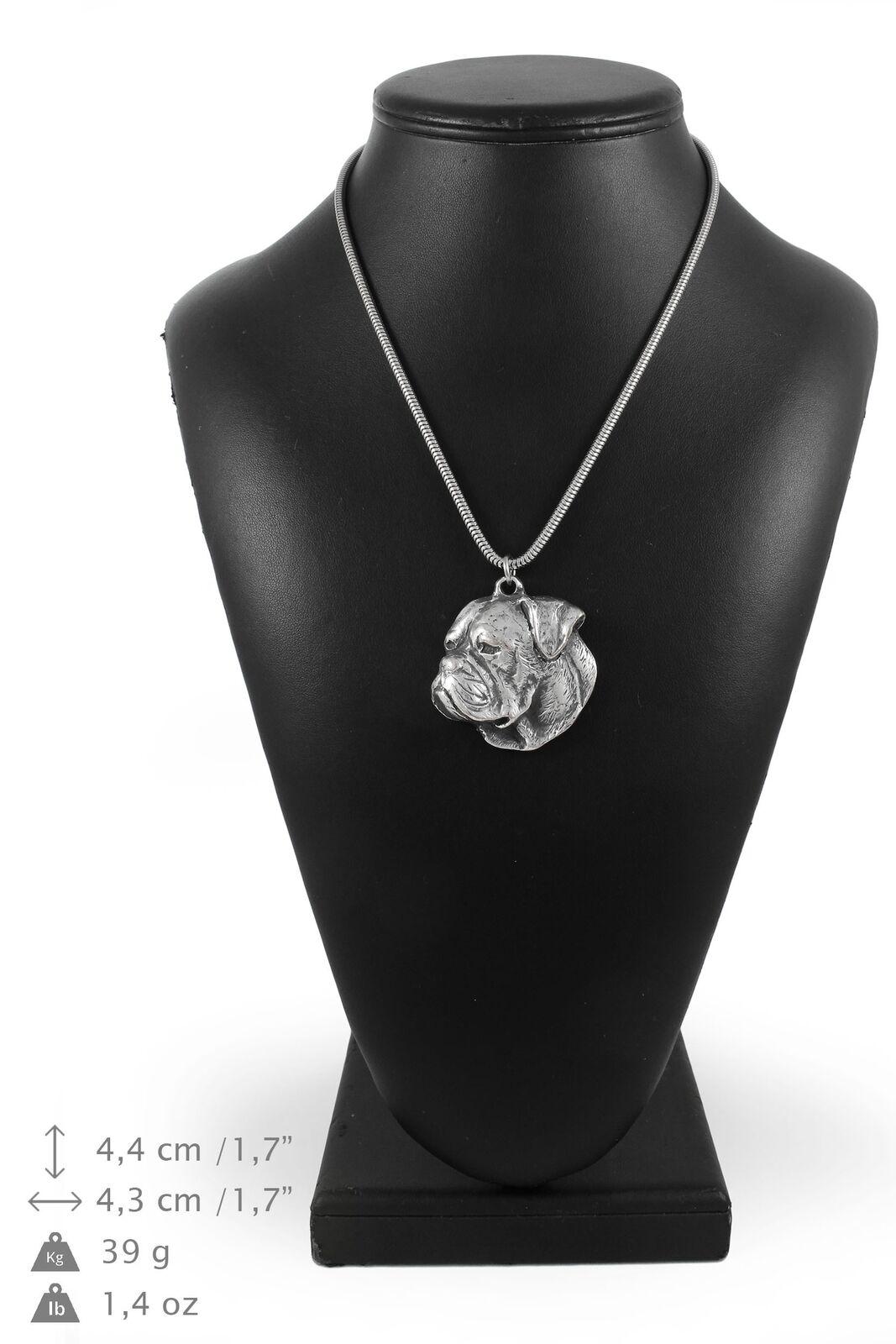 Bouledogue américain - silver plaqué collier sur une cordon en silver Art Dog FR