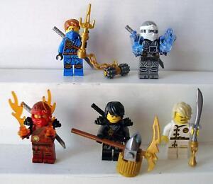 5-Lego-Figuren-Ninjago-Lloyd-Zane-Kai-Jay-Cole-Gold-Waffen-Maske-Ninja-Figur