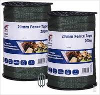Electric Fencing Green 20mm Fence Tape Twin Pack 2x200m + Free Tape Connector