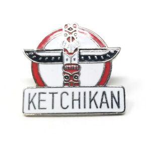 Alaska Destination Travel Pins Tac Brooch Vintage Tourist Lapel  Hat  Back Pack Pin Ketchikan Ceremonial Hall Inside Passage Totems