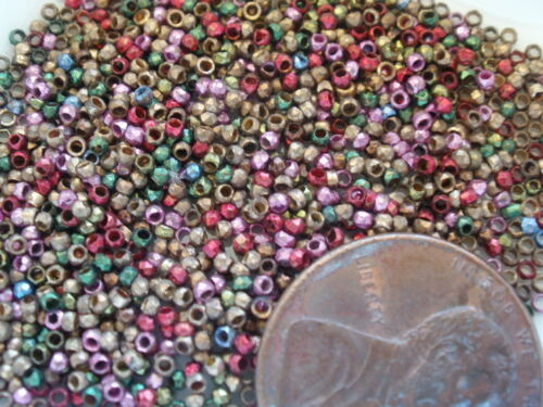 ANTIQUE FRENCH FACETED METAL MULTI COLOR PLATED STEEL CUT BEADS TINY MICRO RARE