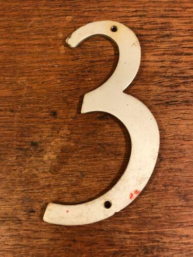 """Vintage récupéré Rétro Aluminium Robuste Maison Signe Adresse Numéro 3 4.25/"""""""