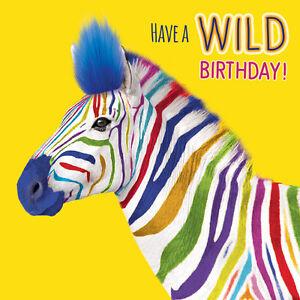 Zebra Birthday Card Wild Birthday Fluff Finish Funny Animal Greeting