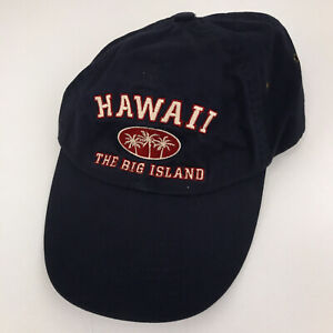 Hawaii The Big Island dad hat cap blue with red white lettering unworn hbx56