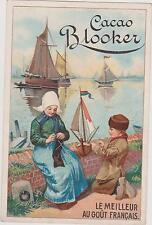 CHROMO ANCIEN PUBLICITAIRE CACAO BLOOKER/ENFANT- VOILIER JOUET/MAMAN TRICOTANT