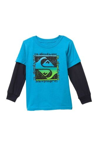 Quiksilver Toddler Boys 4T Long Sleeve Flip Out Tee T-Shirt Turquoise Black NWT