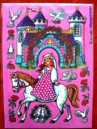 Prinzessin auf Pferd Taube Rose Schloß  Fensterbild A4 von Mauder neu /& ovp