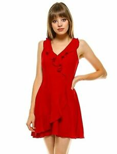 Teeze Me Juniors Sleeveless V Neck Ruffle Surplice Faux Wrap Dress Red 7/8
