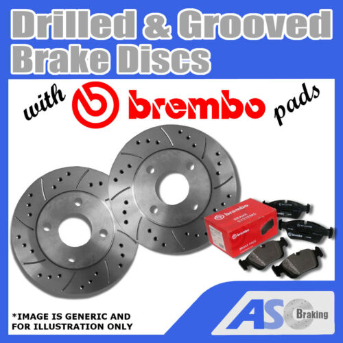 Drilled /& Grooved 5 Stud 312mm Vented Brake Discs D/_G/_2705 with Brembo Pads