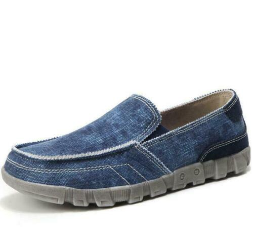 Mens Casual Canvas Loafers Breathable Comfy Driving Flats Slip On Boat Shoes Sz