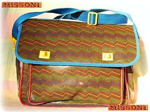 ???? Missoni Vintage Fashion 1980 Borsa Tracolla Portadocumenti Bag Multirighe New Performance Fiable