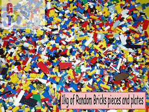Lego-1kg-Mixed-Bricks-Parts-and-Pieces-inc-Minifig-amp-Vehicle