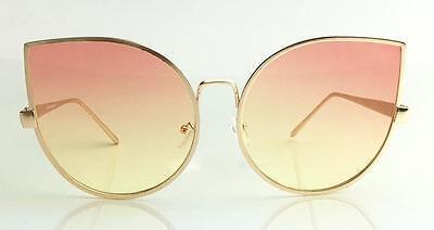 Cat Eye Rounded Metal Frame Large Oversized Multi Color Lenses Women Sunglasses