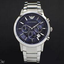 Emporio ARMANI Elegante Herrenuhr AR2448 Chronograph Farbe: Silber Blau