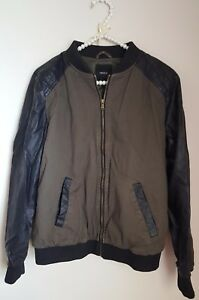 Forever-21-Olive-Green-Colorblock-Black-Diamond-Quilt-Faux-Leather-Bomber-Jacket