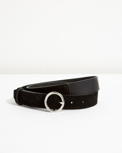 Jigsaw Bonni Suede Circle Jeans Belt Womens New Black