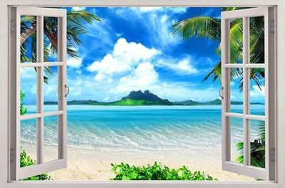 Exotic Beach View 3D Window Decal WALL STICKER Home Decor Art Wallpaper Mural