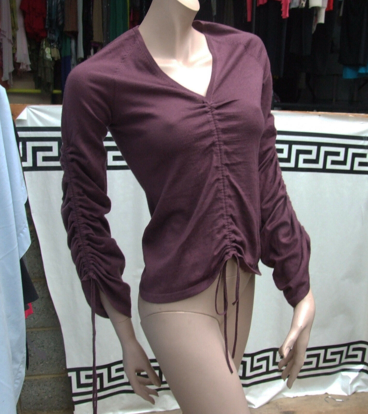Hoss Intropia M Magnificent Aubergine Maroon Ruche Sleeve & Centre Luxurious Top