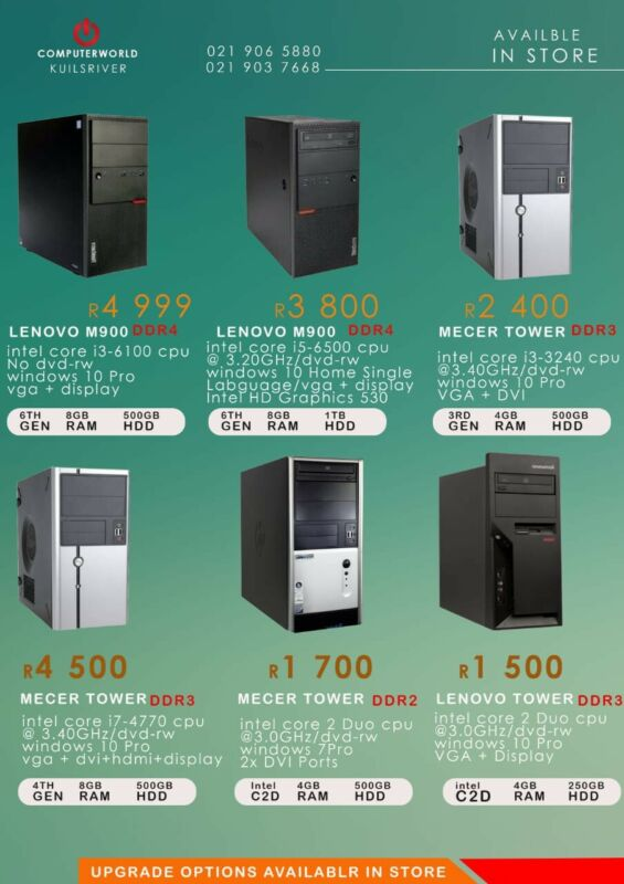 Complete Towers from R1500
