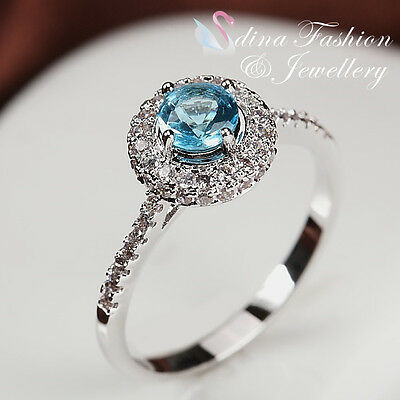 18K White Gold Plated Genuine Swarovski Crystals Delicate Halo Aquamarine Ring