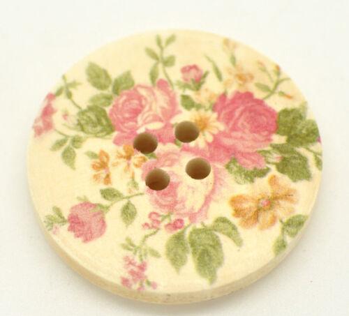 10 pretty floral en bois de rose peint à coudre boutons 30mm couture