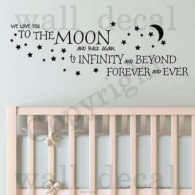 We Love You To The Moon and Back Wall Vinyl Decal Decor Words Sticker Nursery