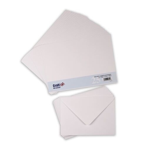 Craft UK C5 Card Blanks /& Envelopes WhitePack of 25
