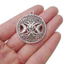 5pcs Antique Silver Celtic Tree Life Triple Moon Goddess Charms Pendants 35mm