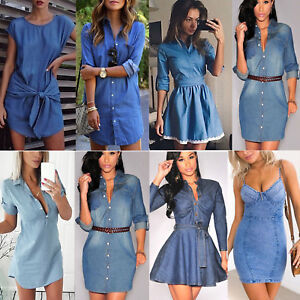 vivid and great in style 100% authenticated search for clearance Details about Womens Denim Jeans Short Mini Dress Pocket Ladies Casual  Party T Shirt Dresses
