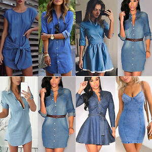Womens-Denim-Jeans-Short-Mini-Dress-Pocket-Ladies-Casual-Party-T-Shirt-Dresses