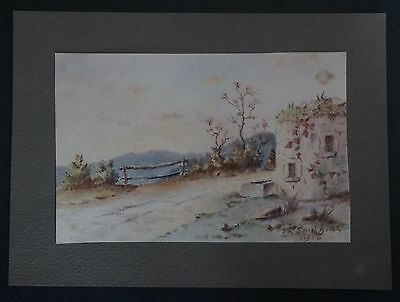Th Saulgeot Signed High Quality And Low Overhead xix°/20th Landscape 1918 Watercolour