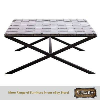 Coffee Table Large Square Table with Woven Stainless Steel Top and Iron Legs