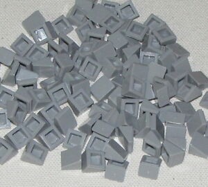 Lego-Lot-of-100-New-Light-Bluish-Gray-Slope-30-1-x-1-x-2-3-Parts-Parts