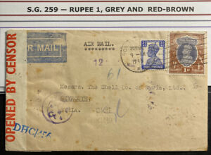 1943-Bombay-India-Censored-Airmail-Cover-To-Shell-Co-In-Beyrouth-Syria-Sc-259