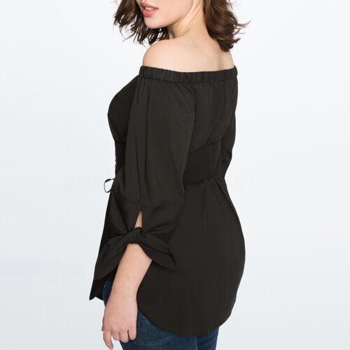Womens Off Shulder Half Sleeve T-shirt Top Ladies Bardot Asymmetric Shirt Blouse