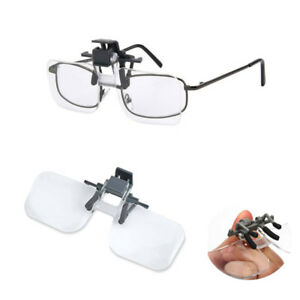 Clip-On-Flip-Up-2x-Magnifying-Reading-Glasses-Acrylic-Magnifier-Loupe-Lenses-UK