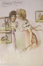 """""""Ostern, Frauen, Hase, Käfig, Weidenkätzchen"""" 1908, Prägekarte ♥  (14802)"""