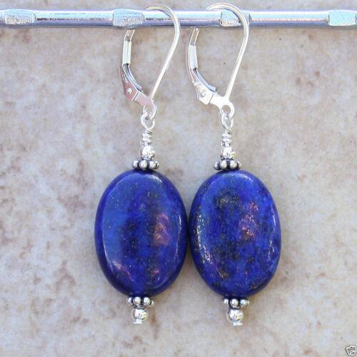 Belle 13x18mm naturel bleu Lapis Lazuli plaqué argent Boucles d/'oreilles leverback