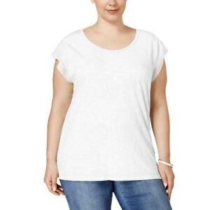 Style-amp-Co-Top-Plus-0X-Solid-White-Chiffon-Flutter-Sleeve-Tee-Shirt-Womens