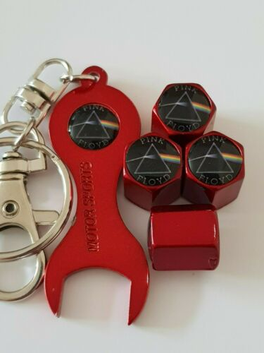 Pink Floyd tapones de polvo Válvula Rojo metálico con llave Llavero todos los coches y bicicletas